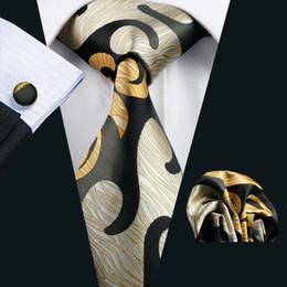 Abstract Yellow Mens Tie Pocket Square Cufflinks Set 8.5cm Width Meeting Business Casual Party Necktie Jacquard Woven N-1182