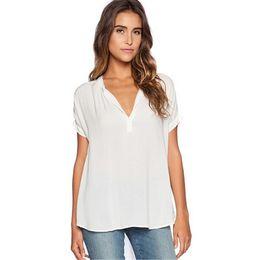Summer Casual Chiffon Shirts Sexy V-eck Short Sleeve Women Blouses Shirt Stylish Lady Solid Tops Plus Size Loose Blusas