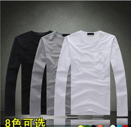 Wholesale new casual Men O Neck long sleeved T shirt blank bottoming shirt multicolor can be printed LOGO