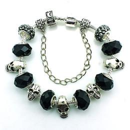Brand New Fashion Skull Link Bracelets Personality Black Crystal Beads Infinity DIY European brand Bracelet Jewelry