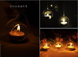 Wholesale Dia cm Glass Tealight Holders Hanging Candle Holders For Wedding Candlestick Wedding Decor Home Decor