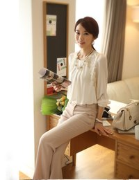 Wholesale 2014 women office lady Fashion Elegant white Lace Embroidered long sleeve chiffon blouse Tops shirt E1422 S5
