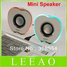 Wholesale Apple Shaped USB Powered Multimedia Speakers loudspeaker Speaker For PC Laptop Mp3 Phones p0645