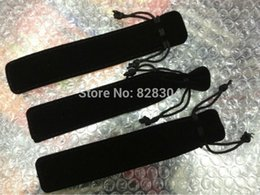 Free shipping black Velvet pen bag pen pouch pencil case with rope black 20pcs lot