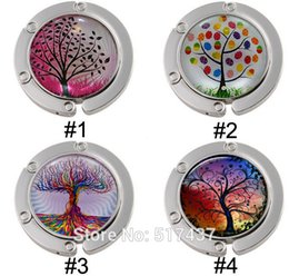 Wholesale 2014 New bag hanger with tree Tree of Life Bag hanger in Circle Glass Bezel hook Rainbow Tree Of Life Art floding bag hanger bag hanger