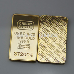 Wholesale 5 The CREDIT SUISSE oz Pure Gold Plated Bullion Bar Replica American souvenir coin gift laser number USD