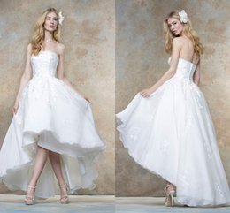 Hi-Lo Wedding Dresses Beach Wedding Gowns 2016 Spring Strapless New Arrival High Low Bridal Dresses with Appliques
