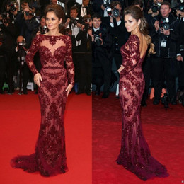 Zuhair Murad Sexy Burgundy Cannes Red Carpet Dresses Bateau Beading See Through Long Sleeve Evening Dresses Formal Pageant Dress