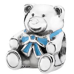 2017 bleu argent Bleu gros ours en peluche 925 perles breloques Charm Sterling Silver européennes Fit chaîne de bricolage mignon Snake Bracelet Femme Bijoux bleu argent sur la vente