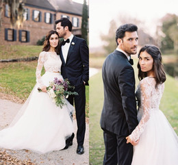 Romantic Lace Long Sleeves Two Piece Wedding Dresses Tulle A Line Garden Bridal Dresses Sweep Train Sheer See Through Wedding Gowns