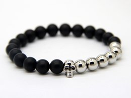 2015 New design Wholesale Beaded Silver Bronze Skull Bracelest with Natural Matte Agate Stone Beads Jewelry