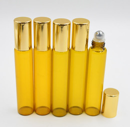 Amber brown 10ml 1 3oz ROLL ON GLASS BOTTLE Fragrances ESSENTIAL OIL stainless steel Roller Ball Gold Cap Wholesale by DHL Free Shipping