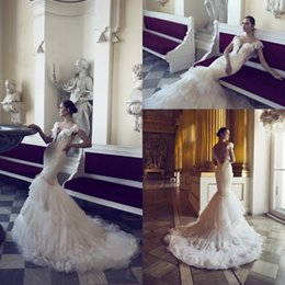 Wholesale Cheap Plunge Dresses - 2016 Chic New Tiered Lace Mermaid Wedding Dresses Plunging V Neck Appliqued Ruffles Short Cap Sleeves Cheap Bridal Gown Backless BA0757