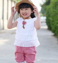 New Summer Lace T Shirt And Lattice shorts Pants Children Clothing Set Kid Girl Clothes Set 2 Colors