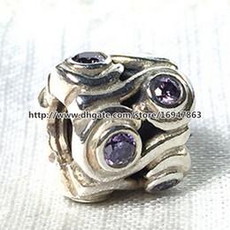 Ocean Wave Charm S925 Sterling Silver Bead with Purple Cz Fits European Pandora Jewelry Bracelets Necklaces & Pendant