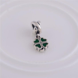 Authentic 925 Sterling Silver Lucky Four Leaf Heart European Charm sterling-silver-jewelry DIY Beads Fits Pandora Bracelet