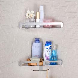 Wholesale And Retail Stainless Steel Bathroom Shelf Dual Tiers Wall Mounted Corner Storage Holder W  Hooks Hangers