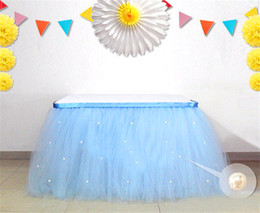 Tulle Tablecloth for Wedding Banquet Colorful Table Skirt Wedding Decoration Tulle Light Baby Blue Tulle Tutu Tablecloth Table Skirt for 6ft