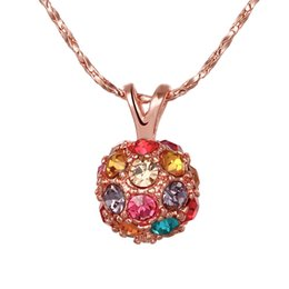 Fashion jewelry 18K Rose Gold Jewelry Sparkly Colorful CZ Crystal Ball Pendant Fit Chains Necklace 18inch
