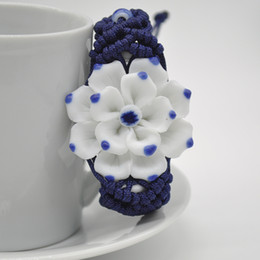 Hot Fashion Chinese Traditional Ethnic Porcelain Jewelry Handmade Braided Blue And White Bauhinia Ceramic Bracelet Y60*SS0057#M5