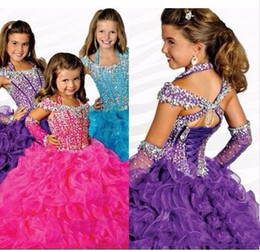 Wholesale 2016 Rachen Allen Little Girls Dresses pink pageant dresses Ball Gown Crystal Beaded Organza luxury Flower Girl Dresses ritzee girls