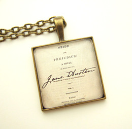 Wholesale 12pcs Jane Austen inspired necklace UK Pride And Prejudice Necklace Book Lover Gift