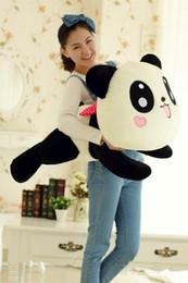 Promotion oreillers panda en peluche Frais de port gratuit gros-55CM farcies poupée en peluche animal géant Cute Panda traversin Cadeau