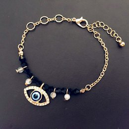Wholesale-Fashion Turkey Hamsa Evil Eye Charm Bracelet Half metal and beads Bracelets For Women Wholesale
