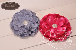 Wholesale 5 Peony Flowers with Shiny Gem Center Flat Back Tulle Shabby Flower for Headband Trial order Photography Props QueenBaby