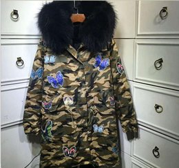 Real raccoon fur trim Meifeng brand black rabbit fur lining Camouflage shell parka with butterfly embroidery