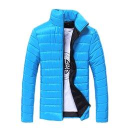 Fall-Men Winter Solid Multicolor Long Sleeve Cotton Padded Jackets Coats White Navy Blue Black Red Lake Blue Orange Light Gray