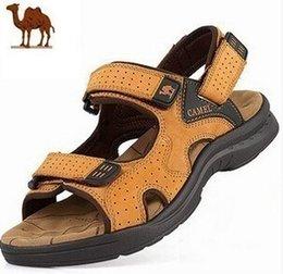 Air en cuir libre à vendre-2015 livraison gratuite Camel mens sandales pantoufles en cuir véritable peau de vache sandales casual sandales en cuir hommes en plein air pour les hommes