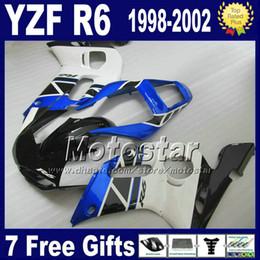 Plastic fairing kit for YAMAHA YZF R6 98-02 YZFR6 YZF-R6 1998 1999 2000 2001 2002 black white blue fairings set VB96