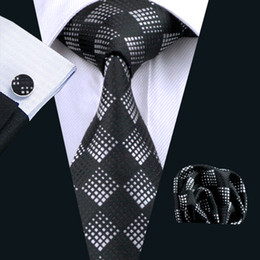 Plaid Tie Silk Necktie Hankerchief Cufflinks Mens Jacquard Woven Classic Business Black Necktie N-0258