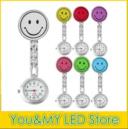 Wholesale 2016 hot sale New Smile Face nurse watch Doctor Metal Stainless Nurse Medical Clip Pocket Watches multicolor for choice DHL