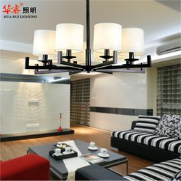 Wholesale Modern ceiling pendant lights antique black head head Wrought iron E14 LED cloth lampshade chandeliers living room bedroom