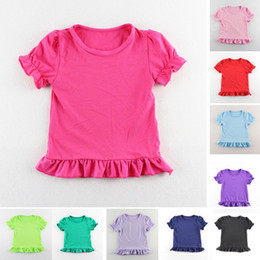 hot sale 2016 Girls Wear Harem tops Chidlren short sleeve shirts Girls Ruffle tutu tops 12Colors Choose Freely 5Size for 1-6T free ship