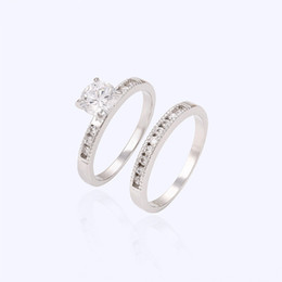 Wholesale Valentines Day Women Rhodium Plated Couple Ring Copper Jewelry Ring Inlay With White Cublic Zirconia Xuping Brand Jewelry