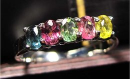 Wholesale AAAA candy color bright color ladies models natural tourmaline ring