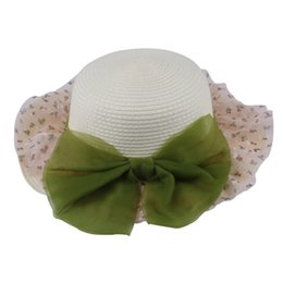 Wholesale-Women Girls Fashion Khaki Lace Yarn Bow Linen Summer Sun Protection Hat Foldable Ladies Beach Caps chapeu feminino