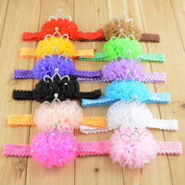 Fashion Baby Chiffon flower Lace headbands with crown for children girls infant hair accessories 12 colors in stock