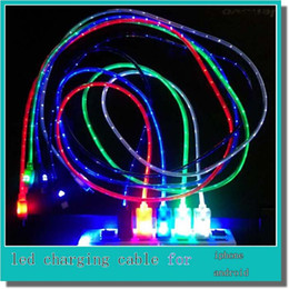 Wholesale Cheap price Micro USB LED Light Retractable Charging Data Sync Cables Smile face LED USB Cable for Samsung HTC iphone iphone