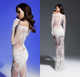 Stunning Sexy 2019 Sheer Long Sleeve Evening Dresses Tulle Appliques Lace Off The Shoulder See Through Evening Prom Gowns DL1314078
