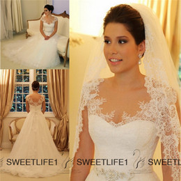 Wholesale 2015 vestido de noiva Lace Wedding Gowns Cap Sleeves Sheer A Line Wedding Dresses Applique Beaded Tulle Beach Garden Bridal Gown Court Train