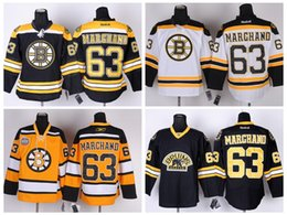 Wholesale Cheap Brad Marchand Jersey New Boston Bruins Hockey Brand Jerseys Ice Sport Suit White Black Yellow Stitched Sportwear