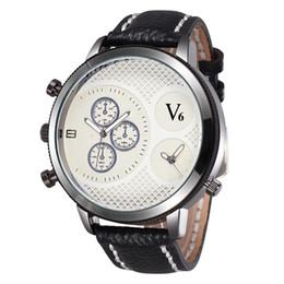 La montre-bracelet pour hommes en Ligne-Nouvelle Arrivée Montres en cuir de luxe Hommes Montres Sport Montres Montres Dual Time Zones Montres Marque V6
