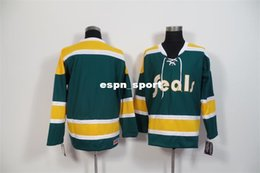 Wholesale Factory Outlet New California Golden Seals Mens Jerseys Blank DarkGreen Ice Hockey Jersey4594