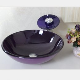 Wholesale Dark Purple painted round Tempered glass Vessel sink with Waterfull faucet set N