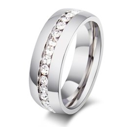 Wholesale ORSA High Polished Titanium Steel Ring for Men Women Couples Luxury Clear Shine Rhinestone Jewelry OTR27