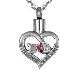 Lily Cremation Jewelry DAD In My Heart Red Rhinestone Hollow Memorial Urn Necklace Keepsake Ash Holder With Gift Bag and Chain